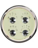 """5"""" QUAD GAUGE, 100 PSI/100-250 °F/8-18V/240-33 Ω, PRESTIGE ANTIQUE IVORY"""