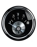 "2-1/16"" OIL PRESSURE, 0-100 PSI, AIR-CORE, MECHANICAL, PRESTIGE BLACK DIAMOND"