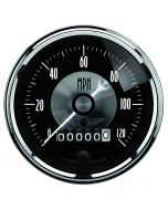 "3-3/8"" SPEEDOMETER, 0-120 MPH, ELECTRIC, W/ WHEEL ODO, PRESTIGE BLACK DIAMOND"