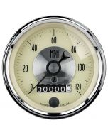 "3-3/8"" SPEEDOMETER, 0-120 MPH, ELECTRIC, W/ WHEEL ODO, PRESTIGE ANTIQUE IVORY"