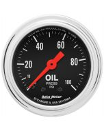 """2-1/16"""" OIL PRESSURE, 0-100 PSI, MECHANICAL, TRADITIONAL CHROME"""