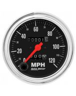 """3-3/8"""" SPEEDOMETER, 0-120 MPH, MECHANICAL, TRADITIONAL CHROME"""