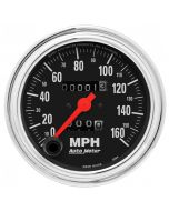 """3-3/8"""" SPEEDOMETER, 0-160 MPH, MECHANICAL, TRADITIONAL CHROME"""