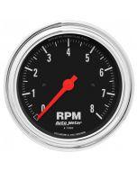 "3-3/8"" IN-DASH TACHOMETER, 0-8,000 RPM, TRADITIONAL CHROME"