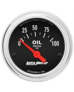 "2-1/16"" OIL PRESSURE, 0-100 PSI, AIR-CORE, TRADITIONAL CHROME"