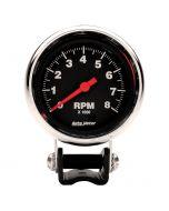 """2-5/8"""" PEDESTAL TACHOMETER, 0-8,000 RPM, TRADITIONAL CHROME"""