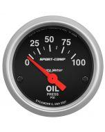 "2-1/16"" OIL PRESSURE, 0-100 PSI, AIR-CORE, SPORT-COMP"