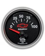 """2-1/16"""" OIL PRESSURE, 0-100 PSI, CHEVY RED BOWTIE"""