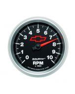 """3-3/8"""" IN-DASH TACHOMETER, 0-10,000 RPM, CHEVY RED BOWTIE"""