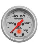 "2-1/16"" OIL PRESSURE, W/PEAK & WARN, 0-100 PSI, STEPPER MOTOR, ULTRA-LITE"