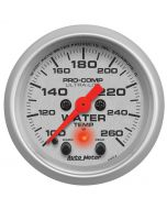 "2-1/16"" WATER TEMPERATURE, W/ PEAK & WARN, 100-260 °F, STEPPER MOTOR, ULTRA-LITE"