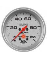 "2-5/8"" OIL PRESSURE, W/ PEAK & WARN, 0-100 PSI, STEPPER MOTOR, ULTRA-LITE"