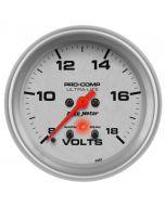 "2-5/8"" VOLTMETER, W/ PEAK & WARN, 8-18V, DIGITAL STEPPER MOTOR, ULTRA-LITE"