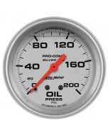 """2-5/8"""" OIL PRESSURE, 0-200 PSI, MECHANICAL, LIQUID FILLED, ULTRA-LITE"""