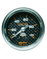 "2-1/16"" OIL PRESSURE, 0-100 PSI, MECHANICAL, CARBON FIBER"