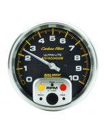"5"" IN-DASH TACHOMETER W/ MEMORY, 0-10,000 RPM, CARBON FIBER"