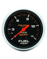"2-5/8"" FUEL PRESSURE W/ ISOLATOR, 0-15 PSI, MECHANICAL, LIQUID FILLED, PRO-COMP"