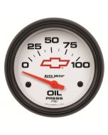 """2-5/8"""" OIL PRESSURE, 0-100 PSI, CHEVY RED BOWTIE"""