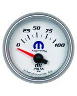 "2-1/16"" OIL PRESSURE, 0-100 PSI, AIR-CORE, WHITE, MOPAR"
