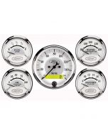 """5 PC. GAUGE KIT, 3-1/8"""" & 2-1/16"""", ELECTRIC SPEEDOMETER, FORD MASTERPIECE"""