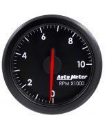 """2-1/16"""" TACH, 0-10,000 RPM, AIR-CORE, AIRDRIVE, BLACK"""
