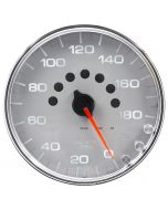 "5"" SPEEDOMETER, 0-180 MPH, ELECTRIC, SPEK-PRO, SILVER DIAL, CHROME BEZEL, CLEAR LENS"