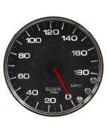 "5"" SPEEDOMETER, 0-180 MPH, ELECTRIC, SPEK-PRO, BLACK DIAL, CHROME BEZEL, CLEAR LENS"