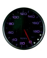 "5"" SPEEDOMETER, 0-180 MPH, ELECTRIC, SPEK-PRO, BLACK DIAL, BLACK BEZEL, SMOKED LENS"