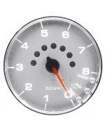 "5"" IN-DASH TACHOMETER, 0-8,000 RPM, SPEK-PRO, SILVER DIAL, CHROME BEZEL, CLEAR LENS"