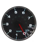"5"" IN-DASH TACHOMETER, 0-8,000 RPM, SPEK-PRO, BLACK DIAL, CHROME BEZEL, CLEAR LENS"