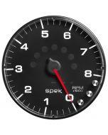 "5"" IN-DASH TACHOMETER, 0-8,000 RPM, SPEK-PRO, BLACK DIAL, BLACK BEZEL, FLAT ANTIGLARE LENS"