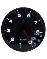 "5"" IN-DASH TACHOMETER, 0-8,000 RPM, SPEK-PRO, BLACK DIAL, BLACK BEZEL, SMOKED LENS"