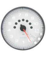 "5"" IN-DASH TACHOMETER, 0-11,000 RPM, SPEK-PRO, WHITE DIAL, BLACK BEZEL, CLEAR LENS"