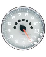 "5"" IN-DASH TACHOMETER, 0-11,000 RPM, SPEK-PRO, SILVER DIAL, CHROME BEZEL, CLEAR LENS"