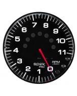 "5"" IN-DASH TACHOMETER, 0-11,000 RPM, SPEK-PRO, BLACK DIAL, BLACK BEZEL, FLAT ANTIGLARE LENS"