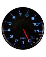 "5"" IN-DASH TACHOMETER, 0-11,000 RPM, SPEK-PRO, BLACK DIAL, BLACK BEZEL, CLEAR LENS"
