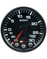 "2-1/16"" BOOST/VACUUM, 30 IN HG/30 PSI, STEPPER MOTOR, SPEK-PRO, BLACK DIAL, BLACK BEZEL, CLEAR LENS"