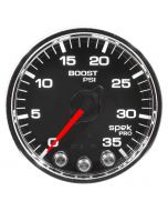 "2-1/16"" BOOST, 0-35 PSI, STEPPER MOTOR, SPEK-PRO, BLACK DIAL, CHROME BEZEL, CLEAR LENS"