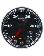 "2-1/16"" BOOST, 0-60 PSI, STEPPER MOTOR, SPEK-PRO, BLACK DIAL, CHROME BEZEL, CLEAR LENS"