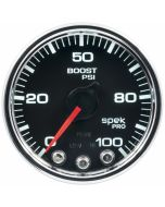 "2-1/16"" BOOST, 0-100 PSI, STEPPER MOTOR, SPEK-PRO, BLACK DIAL, CHROME BEZEL, CLEAR LENS"