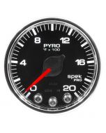 "2-1/16"" PYROMETER, 0-2000 °F, STEPPER MOTOR, SPEK-PRO, BLACK DIAL, CHROME BEZEL, CLEAR LENS"