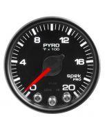 "2-1/16"" PYROMETER, 0-2000 °F, STEPPER MOTOR, SPEK-PRO, BLACK DIAL, BLACK BEZEL, CLEAR LENS"