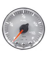 "2-1/16"" FUEL LEVEL, PROGRAMMABLE 0-300 Ω, STEPPER MOTOR, SPEK-PRO, SILVER DIAL, CHROME BEZEL, CLEAR LENS"