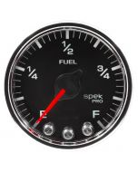 "2-1/16"" FUEL LEVEL, PROGRAMMABLE 0-300 Ω, STEPPER MOTOR, SPEK-PRO, BLACK DIAL, CHROME BEZEL, CLEAR LENS"