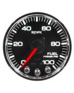 "2-1/16"" FUEL PRESSURE, 0-100 PSI, STEPPER MOTOR, SPEK-PRO, BLACK DIAL, CHROME BEZEL, CLEAR LENS"