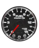 "2-1/16"" FUEL PRESSURE, 0-15 PSI, STEPPER MOTOR, SPEK-PRO, BLACK DIAL, CHROME BEZEL, CLEAR LENS"