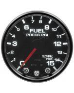 "2-1/16"" FUEL PRESSURE, 0-15 PSI, STEPPER MOTOR, SPEK-PRO, BLACK DIAL, BLACK BEZEL, SMOKED LENS"