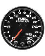 "2-1/16"" FUEL PRESSURE, 0-30 PSI, STEPPER MOTOR, SPEK-PRO, BLACK DIAL, BLACK BEZEL, CLEAR LENS"