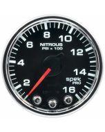 """2-1/16"""" NITROUS PRESSURE, 0-1600 PSI, STEPPER MOTOR, SPEK-PRO, BLACK DIAL, CHROME BEZEL, CLEAR LENS"""