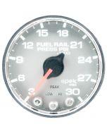 """2-1/16"""" FUEL RAIL PRESSURE, 3-30K PSI, STEPPER MOTOR, SPEK-PRO, SILVER DIAL, CHROME BEZEL, CLEAR LENS"""